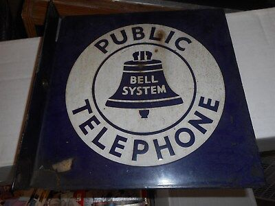 Bell System Public Telephone Flanged Porcelain Sign #2