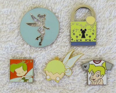 5 Disney TINKER BELL Trader Pin T-Shirt, Lock, Cut Out, Advent, Sweet Characters