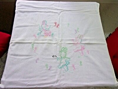 Antique Vintage Hand Embroidered Cotton Baby Blanket Animal Bunny