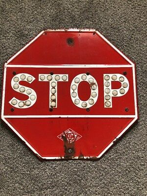 Antique vintage Porcelain enamel Stop sign California state AUTOMOBILE ACC AAA
