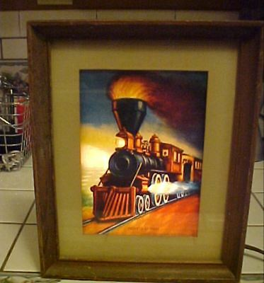 "RARE 1953 Econolite ""Pioneer Express"" Train Locomotive Motion Lamp Picture Frame"