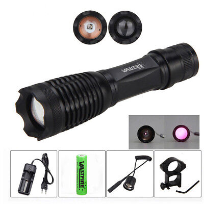7W/10W  IR Night Vision LED Zoomable Infrared Radiation Lamp Torch 18650 Mount C