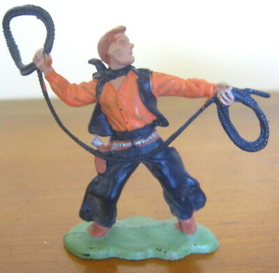 Vintage plastic 1970s Britains toy soldier, cowboy with lariat, Hong Kong