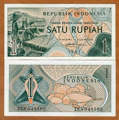 Indonesia, 1 Rupiah, 1961, P-78, UNC > Farm Workers