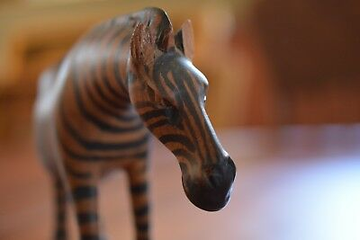 African Carved Solid Wood Zebra Stained Black Painted Stripes Sculpture Decor