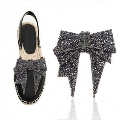 Vintage Style Crystal Tone Rhinestone Bow-knot Shoes Clips Decoration 2 Color US