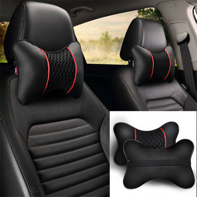 2Pcs Leather Car Seat Pillow Breathable Head Neck Rest Cushion Support Headrest