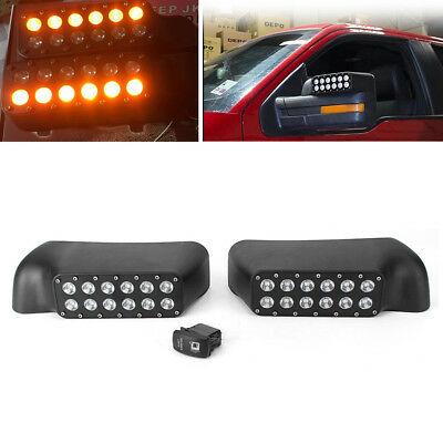 Pair 27W LED Mirror With Turn Signal Lights For Ford F-150/Raptor Pickup Trucks