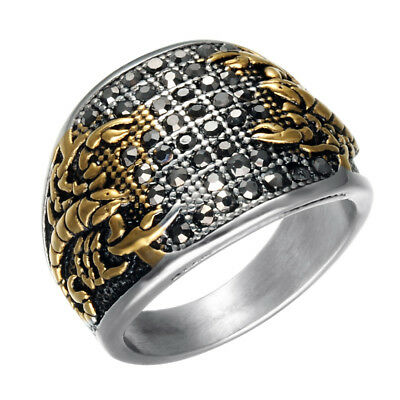 Stainless Steel Gold Plated Scorpions Black Crystals Men's Cool Design Ring M96