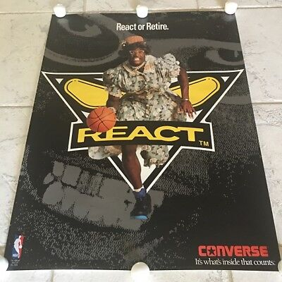 c677fd68a42b Vintage 90s Converse Larry Johnson Grandmama React Or Retire Poster Hornets  NBA