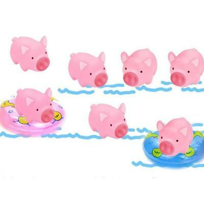 10Pcs Bloomood Plastic Pink Pig Baby Bath Toy With Mini Swimming Ring C