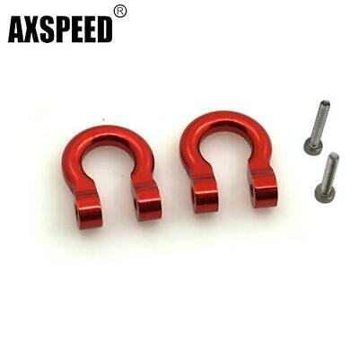 2 Pcs Aluminum Alloy Hooks Hitch Tow Shackles for Traxxas TRx-4 Red