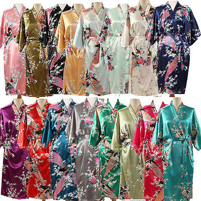 Peacock Long / Short Womens Bridal Bridesmaid Kimono Robe Satin Dressing Gown