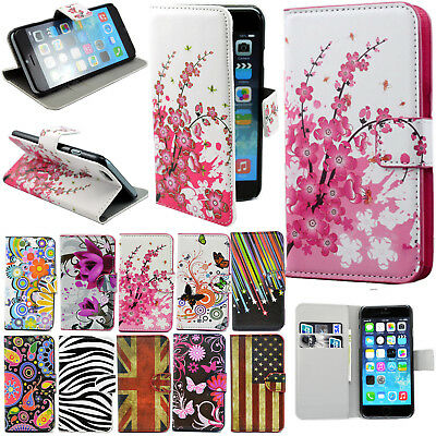 For iPhone 4 4S 5S 6 Samsung Magnetic Pattern PU Leather Flip Wallet Case Cover