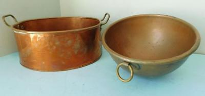 2 Vintage French Kitchen Solid Copper Mixing Bowl and Oval Cooking Pot 1900s