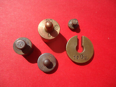 Lot  of  5 Antique  Brass / Bronze Scale Weights