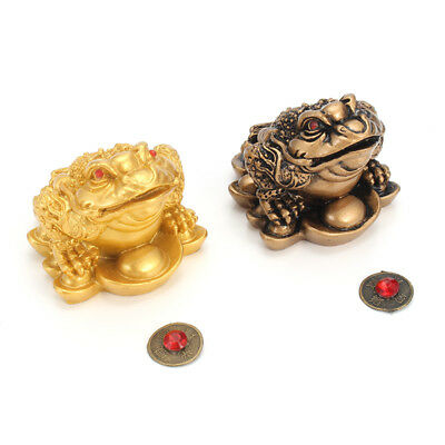 Feng Shui Lucky Money Copper Coin Gilded Frog Toad Ingot Enhance Fortune Wealth