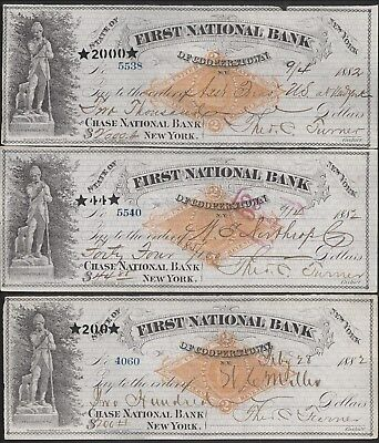 "Three 1882 Cooperstown ""Leatherstocking"" Bank Drafts RN-G1"