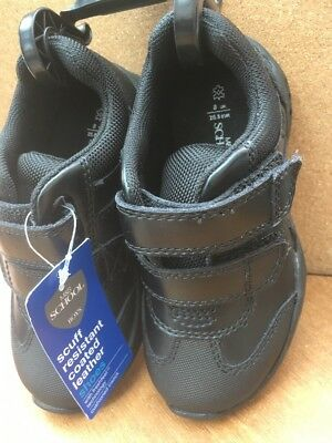 New Marks & Spencer Boys Leather  Velcro Flashing  School Shoes Size  8   £28
