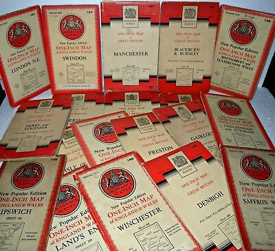 22 x National Grid, Ordnance Survey, One Inch maps, Various Places, & Dates, OS