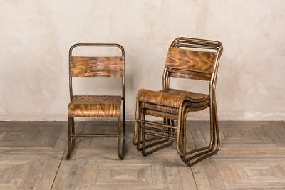 Vintage Stacking Chairs Hooked Metal Stacking Dining Chair Plywood Cafe  Chair