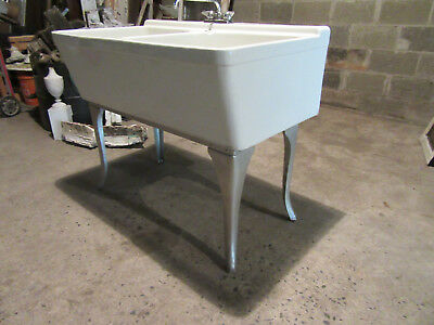 ~ Deep Double Basin China Laundry Sink With Stand Crane ~ Architectural Salvage