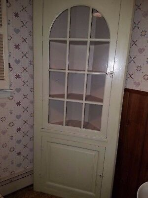 "Corner cupboard 76"" 6+ ft wood glass unknown age Country Farm display cabinet"