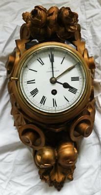rare bristol time fusee ships clock in carved giltwood case