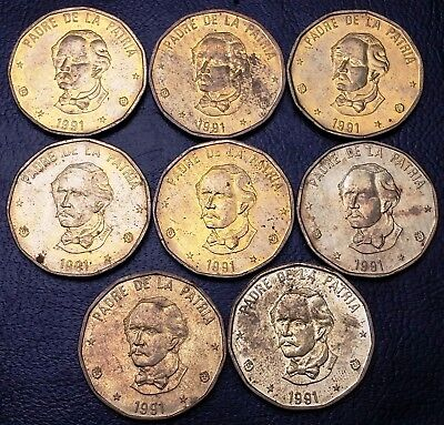 Lot of 8x 1991 Dominican Republic 1 Peso Coins - Great Condition