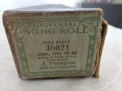 Vintage Pianola Roll Universal Full Scale Song Roll 36021 Come Sing to me