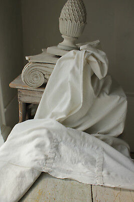 Antique French sheet white linen cotton 19th century 82X110 inch cutting fabric