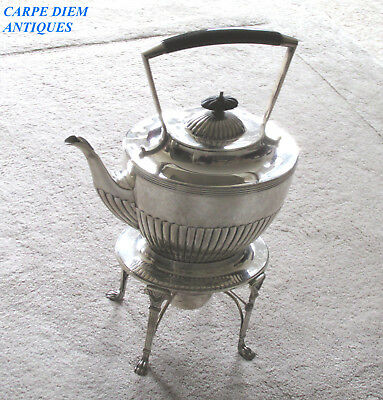 ANTIQUE SUPERB LARGE HEAVY SOLID STERLING SILVER KETTLE & STAND, 1640g BIRM 1900