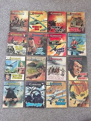 Job Lot of 16 Vintage / Old Commando Comics - Action & Adventure..