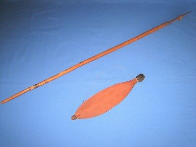 Vintage Aboriginal wooden woomera and fishing spear.