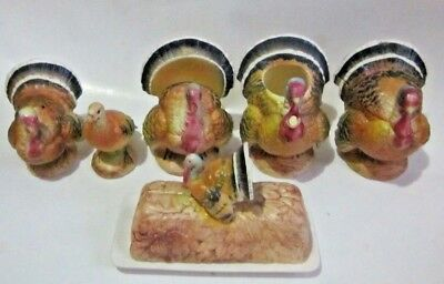 Vintage Napco Turkeys Butter Dish Napkin Holder Sugar Creamer Salt Pepper 8 PC