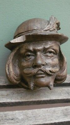 SUPERB 19thc BLACK FOREST OAK CARVED CORBEL OF MALE WITH HAT & MOUSTACHE c.1870