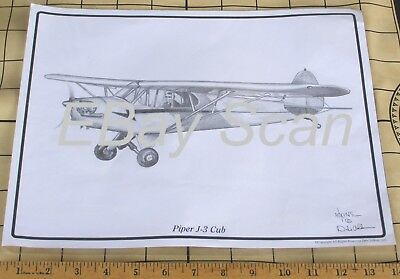 Piper J-3 Cub Pencil Sketch Art by Dale Adkins 11X14 Unframed in sealed plastic