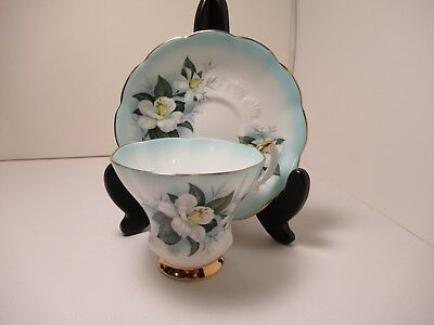 Pretty Royal Albert Cup & Saucer Blue With White Flowers Gold Trim Exc. Cond!