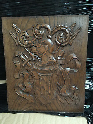 90833 French Antique Carved Wood Archtectural Panel mid age knight 1880s