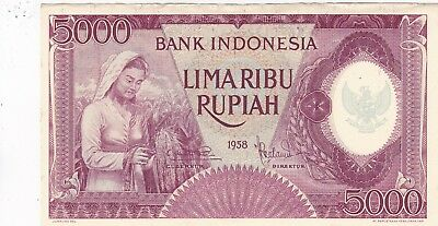 Kappyspenny Id10976 1958 Indonesia 5000 Rupiah Bank Note Ef Or Better
