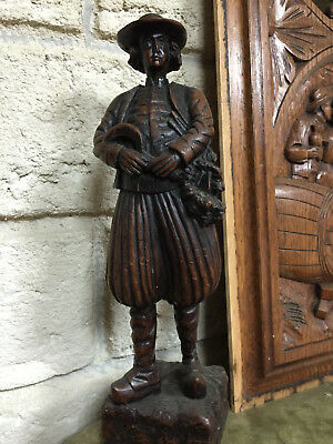 90837 French Antique Carved Wood Architectural figure statue Brittany 1900s