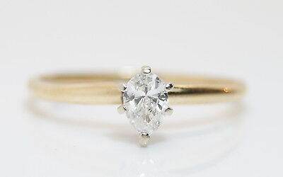 14K Yellow Gold 1/3 Ct Solitaire Pear Diamond Wedding/Engagement Ring Size 7