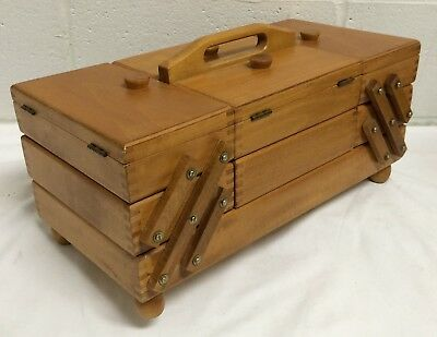 Vtg Mid Century Wood Expandable Accordion Sewing Craft Box Dovetail Romania