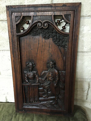 Antique French Carved Wood Cabinet Door Panel Figural Dragons