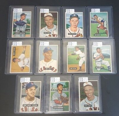 1951 Bowman Baseball Card Lot (11) Vg-Ex Range W/minor Stars Bv $230!!