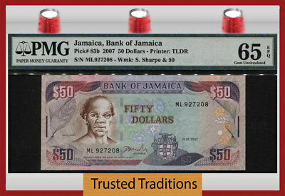 "TT PK 83b 2007 JAMAICA BANK OF JAMAICA 50 DOLLARS ""SAM SHARPE"" PMG 65 EPQ GEM!"