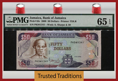 "TT PK 83c 2008 JAMAICA BANK OF JAMAICA 50 DOLLARS ""SAM SHARPE"" PMG 65 EPQ GEM!"