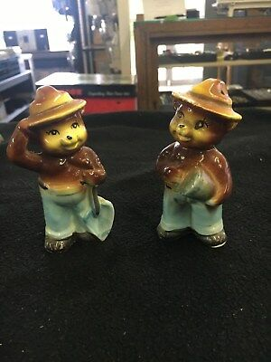 """2 Vintage Smokey Bear salt and pepper shakers Made in Japan 4"""" inches tall"""
