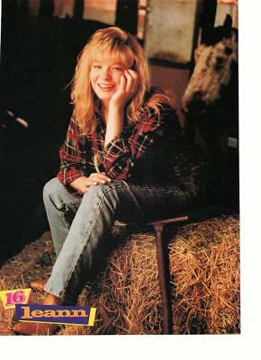 Leann Rimes teen magazine pinup clipping sitting on a haystack brown boots Bop