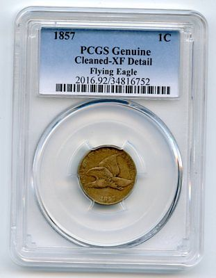 1857 Flying Eagle Cent.  PCGS Genuine.  XF Detail-Cleaned